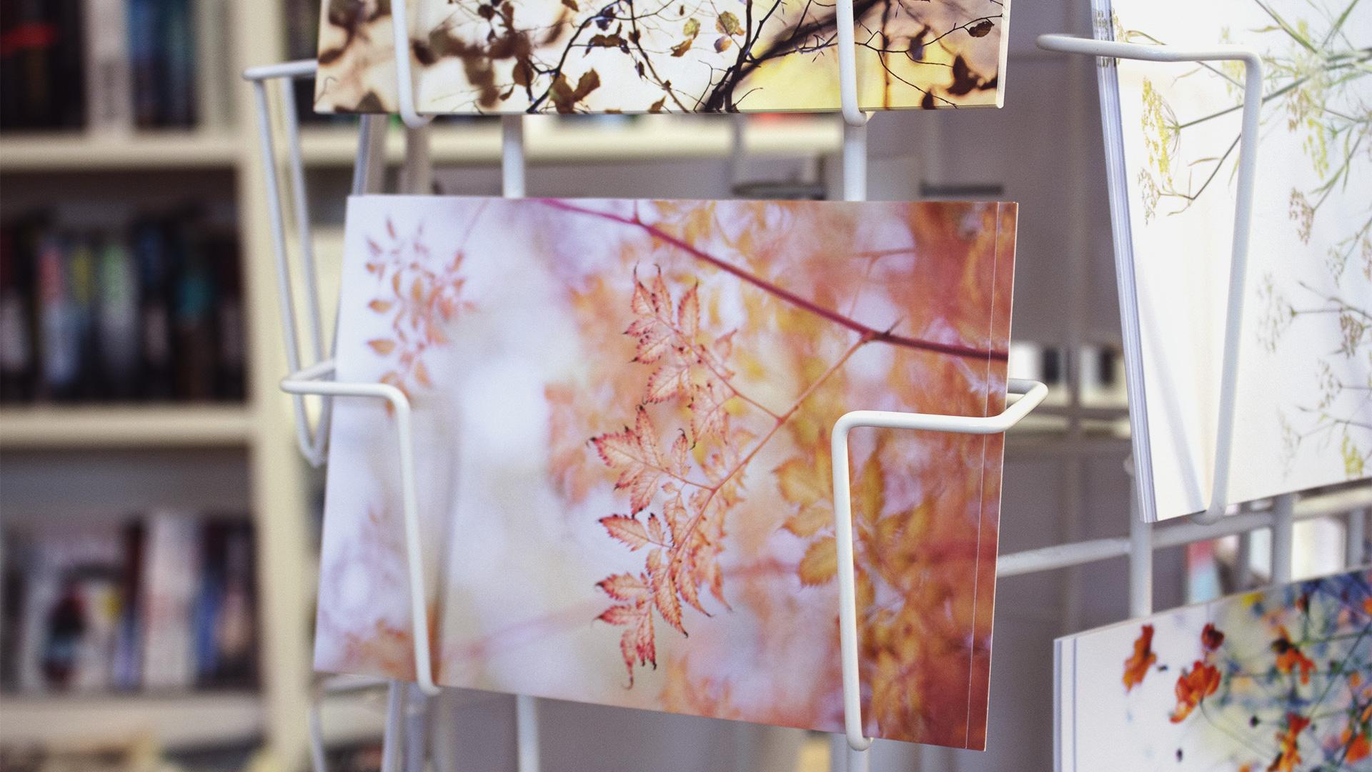 Farbenfrohe Postkarte mit Blättern in herbstlichen Orange- und Rottönen
