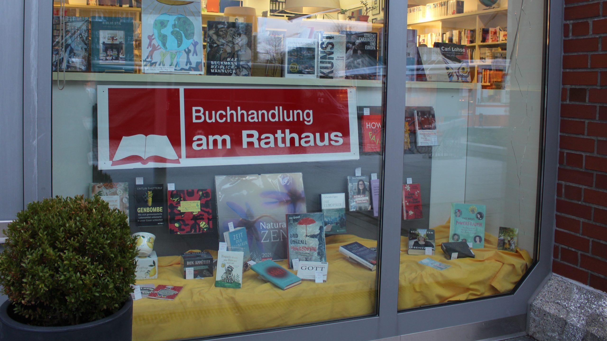 Schaufenster Buchhandlung am Rathaus Januar 2021